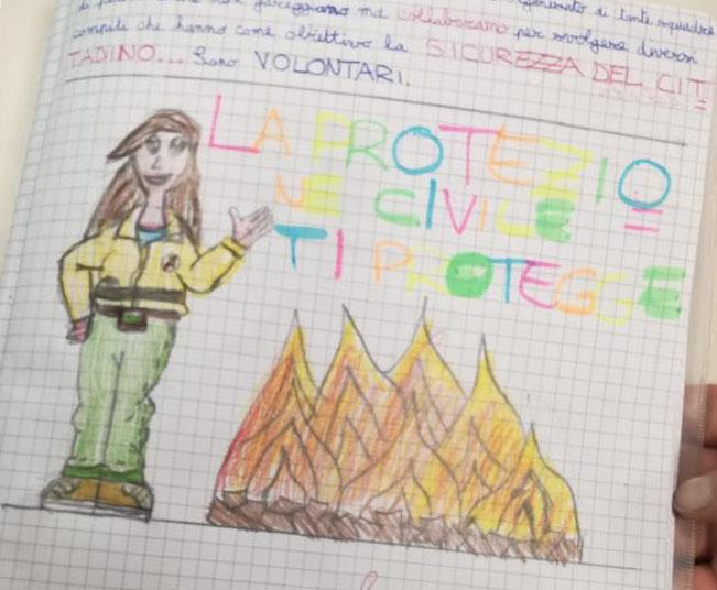 """Disegno fatto da una bambina dell'Istituto comprensivo Anna Frank di Granarolo dell'Emilia per il progetto """"A scuola di Protezione Civile"""""""